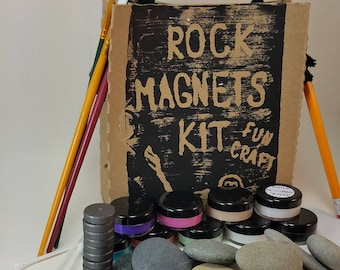 Painted Rock Kit - Painted Stones - DIY Craft Kit - Contemporary Colors - painted stone magnet - paint your own stones - smooth beach stones