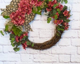 Hydrangea Wreath, Pink Hydrangea Wreath,  Pink Wreath, Any Season Wreath, Spring Wreath, Summer Wreath, Mothers Day Gift