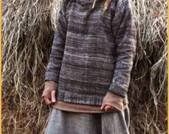 Black Pullover - Handwoven Himalayan Wool. Tribal hoodie. Nomad hoodie. Hooded Sweater. Nomadic Pullover. Handmade Hoodie. Hippie Sweater