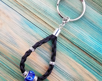 Horsehair Keychain with Beads