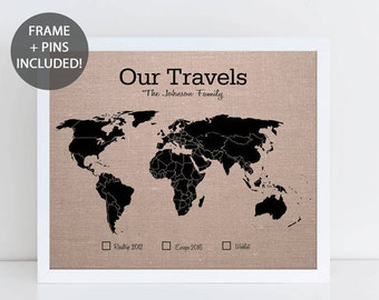 World map wall art etsy our travels world pushpin map personalised travel map world map wall art wedding sciox Choice Image