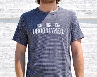 Ich Bin Ein Brooklyner - German Brooklyn Shirt - Men's Soft Crew Neck Short Sleeve Tshirt in Whire and Navy Stripe - Germany Brooklyn Tee