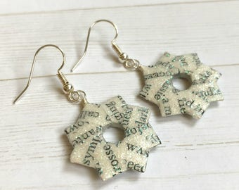 Literary Origami Earrings // Glitter Wreath