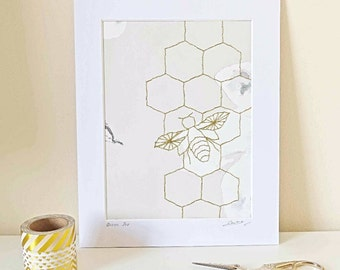 Bee Embroidery Wall Art Gold Hand Stitched Bumble