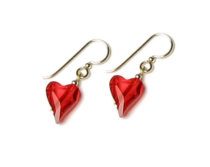 Light Siam Red Wild Heart Swarovski Crystal 14K Gold Filled Earrings Romantic Valentine's Day Jewelry Anniversary Gift for Women Wedding Day
