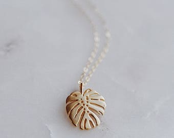 botanical garden. a petite matte gold plated monstera deliciosa leaf charm on a dainty gold filled chain