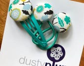 Liberty of London Toddler Set - Mini Pair of Button Hair Ties and Snap Clip for Babies Toddlers or Plaits - aqua jade white floral