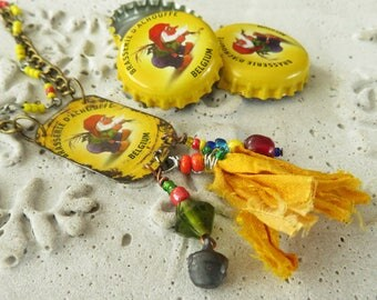 Yellow recycled La Chouffe bottle cap necklace with recycled silk