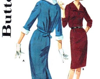 """Mid Century Modern 1960s Dress / Unique 60s Fitted Sheath Dress - Size 12 (Bust 32"""") - UNCUT ff Vintage Sewing Pattern Butterick 2909"""