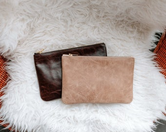 JANE Brown Leather Clutch. Brown Leather Purse. Brown Leather Pouch. Leather Makeup Bag