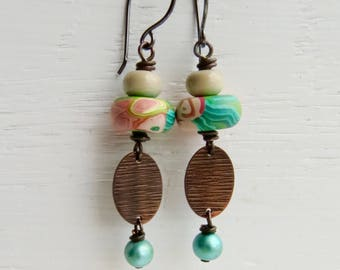 Oleander - handmade artisan bead earrings in mint green and peach with polymer, lampwork glass, copper and freshwater pearls  - Songbead UK