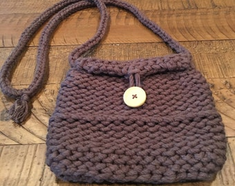 Chunky Knit Shoulder Purse - Dark Brown