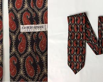 vintage Giorgio Armani SIlk Tie 1980s Cravatte black and red designer tie with sylized geometric paisley pattern