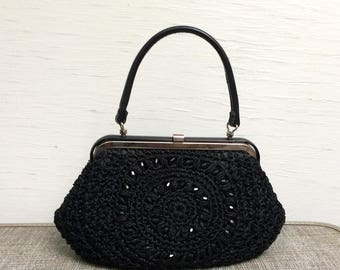 vintage 1960s Black Raffia and Beaded Purse with Silvertone hardware and leather handle 60s black handbag