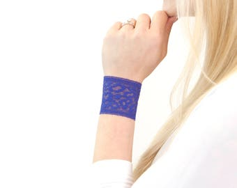 Lace Cuff Bracelet, Wrist Cuff Bracelet, Purple Bracelet Nursing Bracelet, Lace Bracelet Arm Band Wristband Wrist Tattoo Cover Bracelet