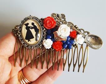 Mary Poppins Bert Disney Silhouette Magic Fairytale Cameo Handmade Bridal Hair Comb Wedding Hair Disney Wedding Gift for Her