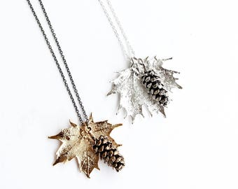 Maple Leaf Pine Cone Necklace | maple leaf necklace, pine cone necklace, leaf necklace, electroplated leaf, canada 150, nature jewelry