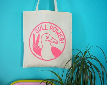 Gull Power Tote Bag, Girl Power Tote, Feminist Tote Bag, Feminist Gifts, Funny Seagull Tote Bag, Pink Spice Girls, 90s Tote Bag, Beach Bag