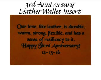 Unique 3rd Year Wedding Anniversary Gift - Leather Wallet Insert Engraved with Your Message for 3rd Anniversary