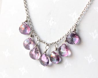 Pink Mystic Topaz Necklace, Sterling Silver, wire wrapped pink gemstone, dainty cascading necklace, holiday gift for her, 2112