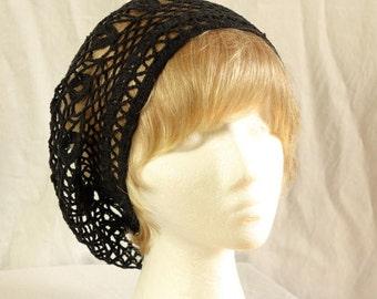 Crochet mesh beanie Women crochet summer hat Bohemian cotton slouchy beret Lightweight tam Women's slouch summer cap Black lace beanie hat
