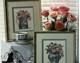 1990s Blue Willow Dishes & Roses Cross Stitch Pattern Leisure Arts 2256 Heirlooms UnUsed Vintage NeedlePoint Color pattern HermionesCloset