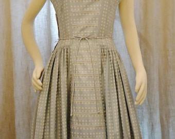 SALE! 1940s New Look Cotton Sun Dress-JUNIOR VOGUES-Babydoll Blue Polkadot Lace Panier-Med/Lg