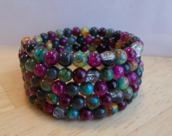 4 Row Memory Wire Cuff Bracelet made with Multi Color Glass Beads