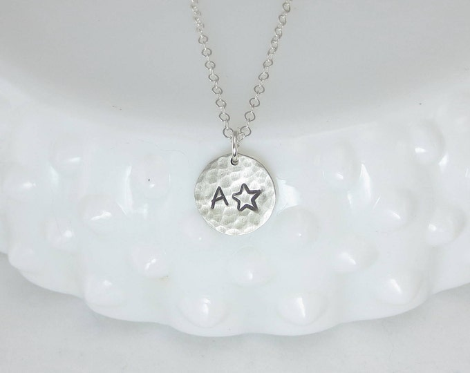 Star Initial Charm Necklace