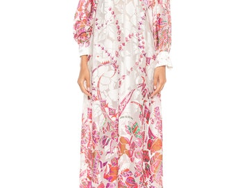 1960s Pink And White Sheer Paisley Maxi Dress Size: 2