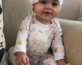Infant White and Gold  Layette Cotton Baby Romper with Larfe Off White Chiffon On The Chest and Matching Hat