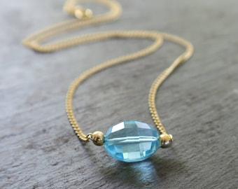 Sky Blue Topaz Necklace | Blue Topaz Pendant | Blue Topaz Beaded Necklace | Blue Topaz Jewelry | Bridesmaid Jewelry | Minimalist Jewelry