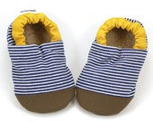 striped baby shoes, denim booties, railroad stripes, rubber sole shoes, navy and brown, soft sole shoes, vegan baby, blue and mustard yellow