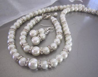 For Kayla- Bridal Pearl Jewelry Set, Single Strand Pearl and Rhinestone 3 Piece Set with FedEx shipping