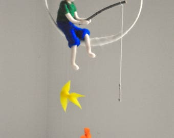 The fishing boy Waldorf inspired needle felted doll mobile: Boy with three fishes