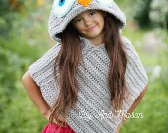 Owl Poncho Crochet Pattern, Owl Poncho, Hooded Poncho, Hooded Owl Poncho, Owl Hood, Owl Blanket, Hooded Owl Blanket, Crochet Owl, Poncho