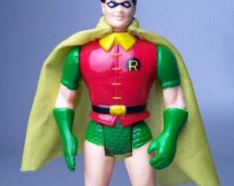 Vintage 1989 Super Heroes Robin Figure With Original Cape C8