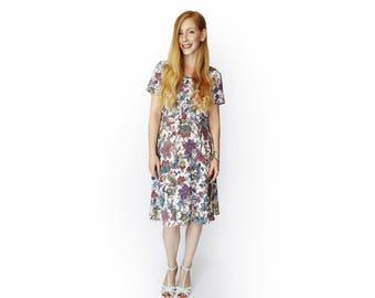 Floral dresses for women, midi dress, White dress, Summer dress women, Short sleeve dress, party dress, Casual dress, Unique dress, Colorful