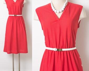 70s Dress, Vintage Red Dress, 70s Red dress, Vintage sleeveless dress, V-neck dress, Vintage Summer Dress, Day Dress,Pin Stripe Dress - L/XL