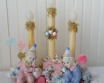VINTAGE VALENTINES DAY Decorated Candolier Candelabra Lighted Centerpiece Arrangement Table Decoration Pink Blue White Gold Pierrot Poodle