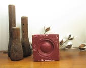 Bullseye Plinth Block, Burgundy Architectural Salvage