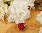 Special Red Quartz July Birthstone Extreme Sparkle Necklace, Sterling Silver, Very Clear Huge 11.5 Ct., 12 mm Quartz, July Birthstone Gem