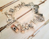 Travel charm bracelet - metal travel adventure charm bracelet - travel charm jewelry - travel/compass/passport/world gift keepsake bracelet