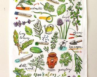 Herbs Tea Towel. Kitchen decor. Garden art. Food illustration.