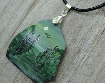 One-of-a-Kind OOAK Hand Painted Upcycled Tumbled Glass Woodland Pendant 39x38mm