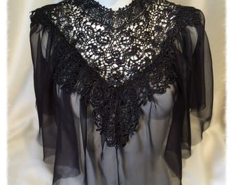 Black Lace and Silk Cape, Top, Capelet Gothic, Victorian, Burlesque, Showgirl
