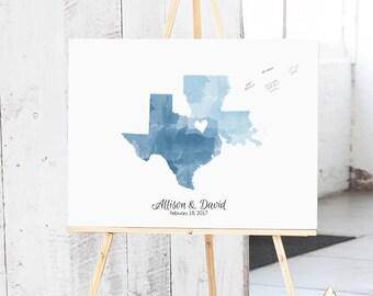 Wedding Guest Book Alternative - Wedding Map Guest Book Canvas- Wedding Guestbook - Guest Book Alternative - The StateLove
