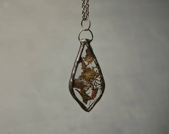soldered glass terrarium pendant, inspiration gift, fashion nature necklace, peal plant pendant, moss necklace