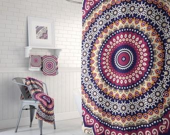 Bohemian Shower, Boho Chic, Gypsy Chic Hippie, Bohemain Bathroom, Gypsy Shower Curtain, Boho Modern Curtain, Boho-Style Shower