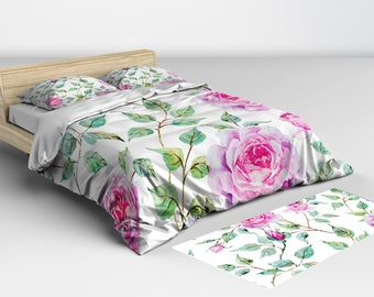 Bedding Set, White with Pink Roses, Duvet Cover, and Comforter Available in Twin Full Queen and King Sizes Matching Pillow Shams Available